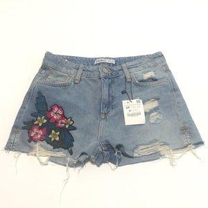 Zara Basic Blue Denim Shorts Size 2 Raw Edge Hem
